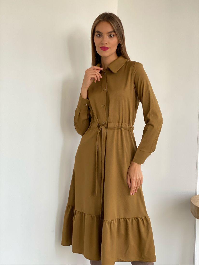s2556 Платье-рубашка с воланом хаки