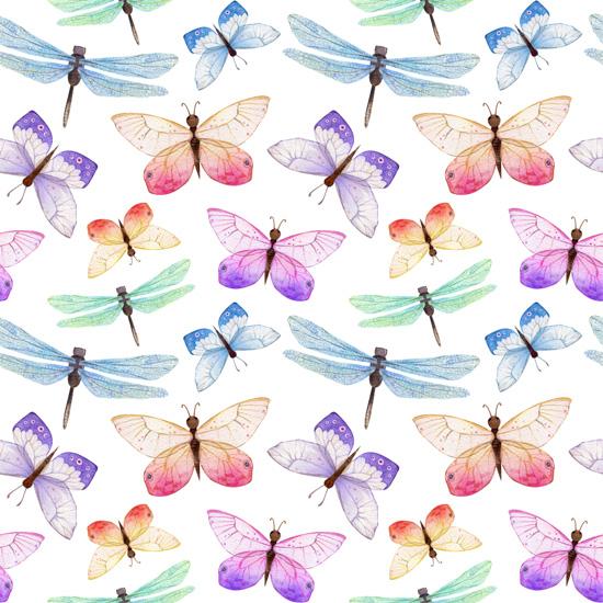 Хлопок Перкаль Бабочки и стрекозки  50х37