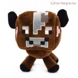 Мягкая плюшевая Коричневая Корова из Майнкрафт (Minecraft) 17 см на присоске