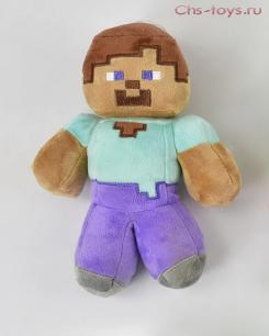 Мягкий плюшевый Стив из Майнкрафт (Minecraft) 22 см на присоске