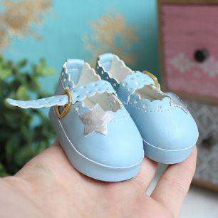 Обувь для кукол 6,5 см - сандалики голубые со звездочкой