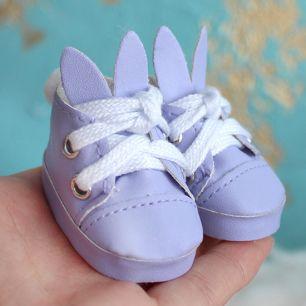 Обувь для кукол 5 см - туфли сиреневые с ушками и помпоном