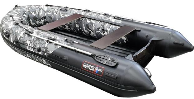 Надувная лодка Хантер 380 ПРО серый камуфляж