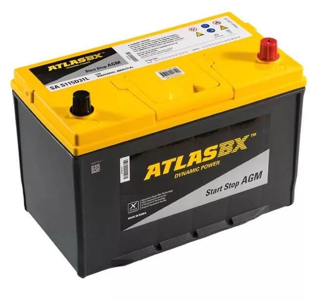 Автомобильный аккумулятор АКБ ATLAS (Атлас)  AGM AX S115D31L 90Ач о.п.
