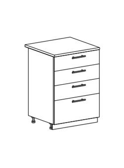 Шкаф нижний с 4 ящиками Модена ШН4Я 600