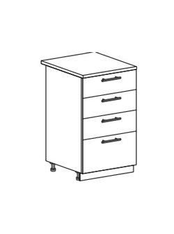 Шкаф нижний с 4 ящиками Модена ШН4Я 500