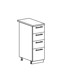 Шкаф нижний с 4 ящиками Модена ШН4Я 300