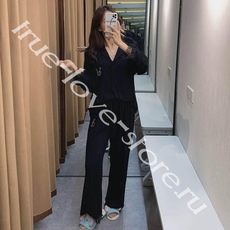 P_017  цена за 3 штуки, Пижама двойка (тянутый шелк)(M,L,XL)