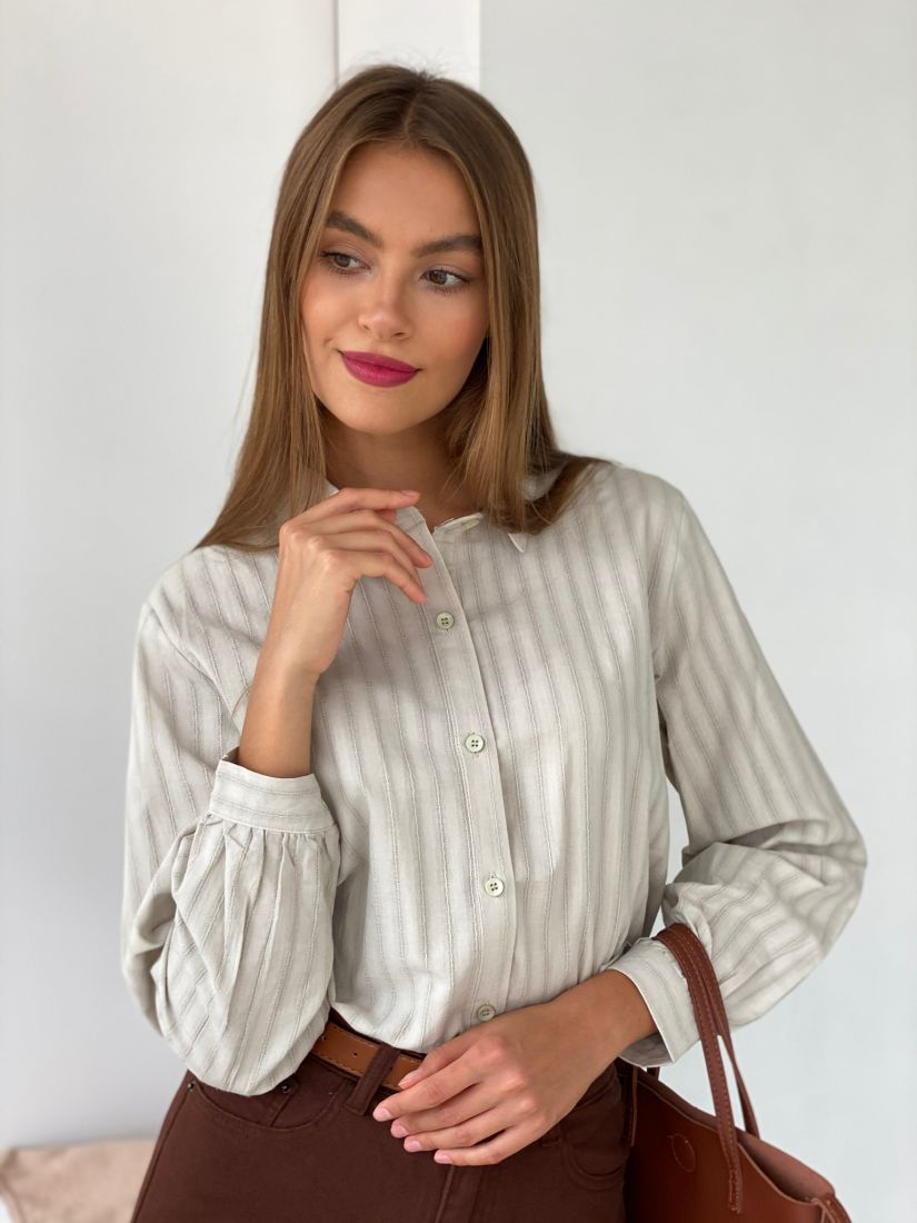 s2558 Рубашка в серо-зеленую полоску