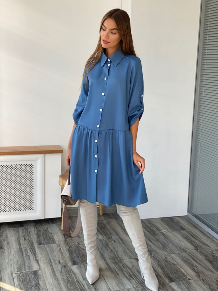2566 Платье-рубашка с воланом