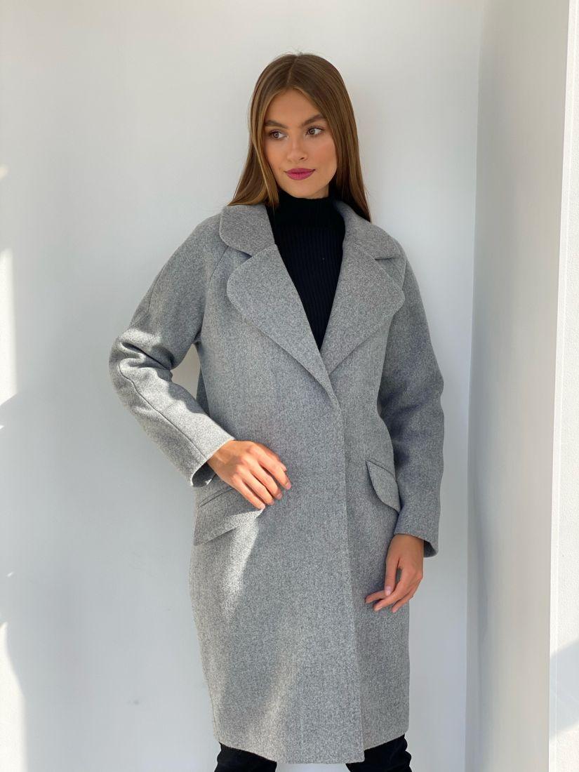 "s2514 Пальто new cocoon в цвете ""серый меланж"""