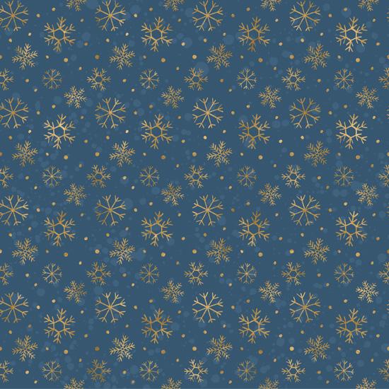 Хлопок Перкаль Золотые снежинки 50х37