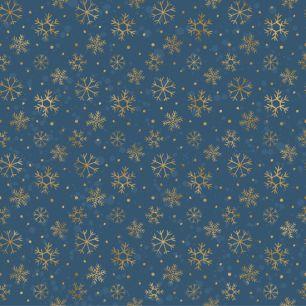 Хлопок Перкаль Золотые снежинки 34*34 УЦЕНКА