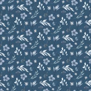 Хлопок Перкаль Цветочки на синем 50х37