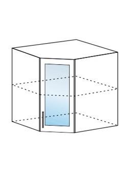 Шкаф верхний угловой со стеклом Модена ШВУС 600