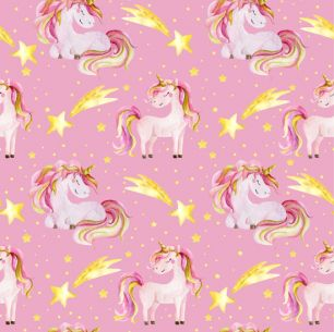 Хлопок Перкаль Единороги на розовом 50х37