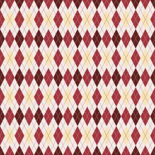 Хлопок Перкаль Красно-бежевые ромбики 50х37