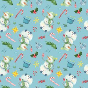Хлопок Перкаль Снеговики на голубом 50х37
