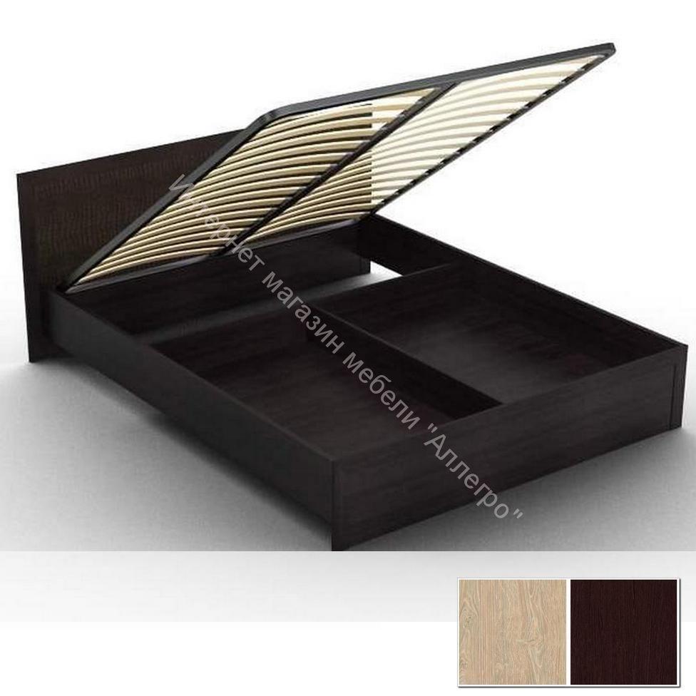 """Кровать """"Gloss"""" 03/1 (1400) с кожаной спинкой и подъемным механизмом"""