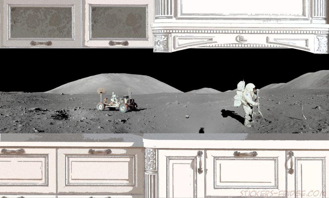 Наклейка на фартук кухни - Apollo 17