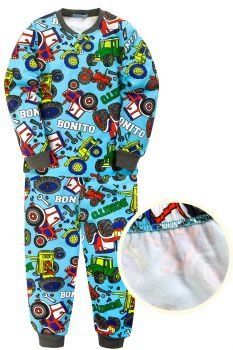 """Пижама для мальчика 7-10 лет Bonito kids """"Трактор"""" голубая"""