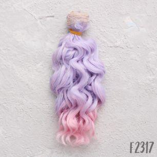 Трессы для создания причеcки куклам Кудри сиренево-розовый омбре - 15 СМ