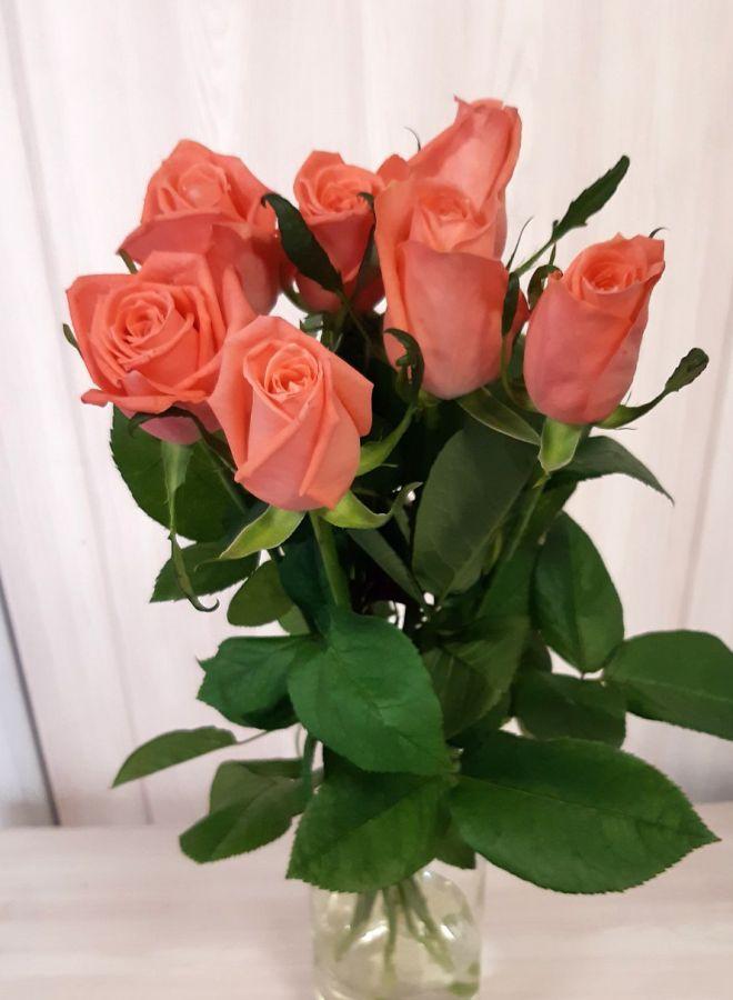 7 местных оранжевых роз (60 см)