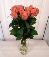 9 оранжевых роз (60 см)