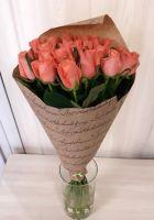 19 оранжевых роз в крафт бумаге (60 см)