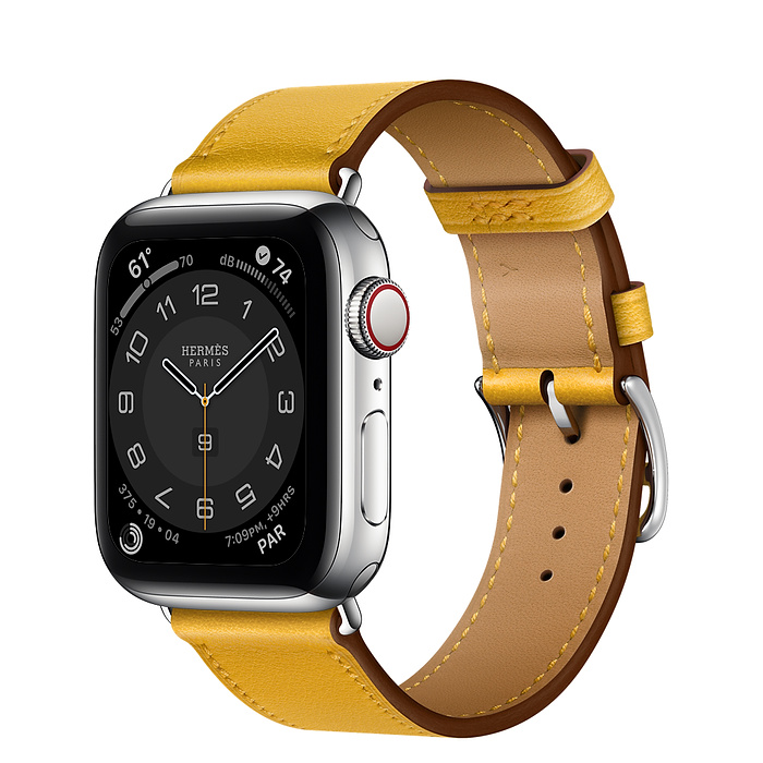 Apple Watch Hermes Series 6 40mm Stainless Steel GPS + Cellular Jaune Ambre Leather Single Tour