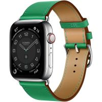 Apple Watch Hermes Series 6 44mm Stainless Steel GPS + Cellular Bambou Leather Single Tour