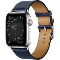 Apple Watch Hermes Series 6 40mm Stainless Steel GPS + Cellular Navy Leather Single Tour