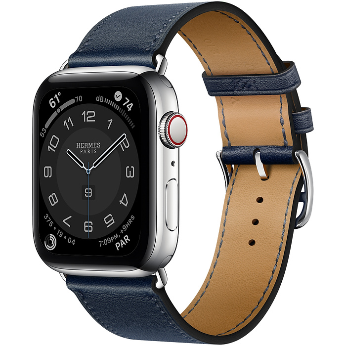 Apple Watch Hermes Series 6 44mm Stainless Steel GPS + Cellular Navy Leather Single Tour