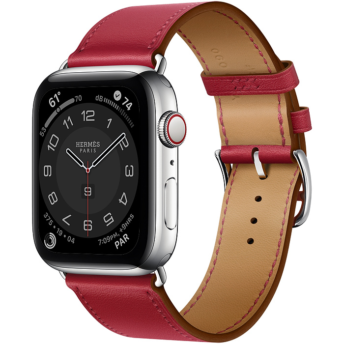 Apple Watch Hermes Series 6 40mm Stainless Steel GPS + Cellular Rouge Piment Leather Single Tour