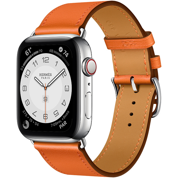 Apple Watch Hermes Series 6 40mm Stainless Steel GPS + Cellular Orange Leather Single Tour