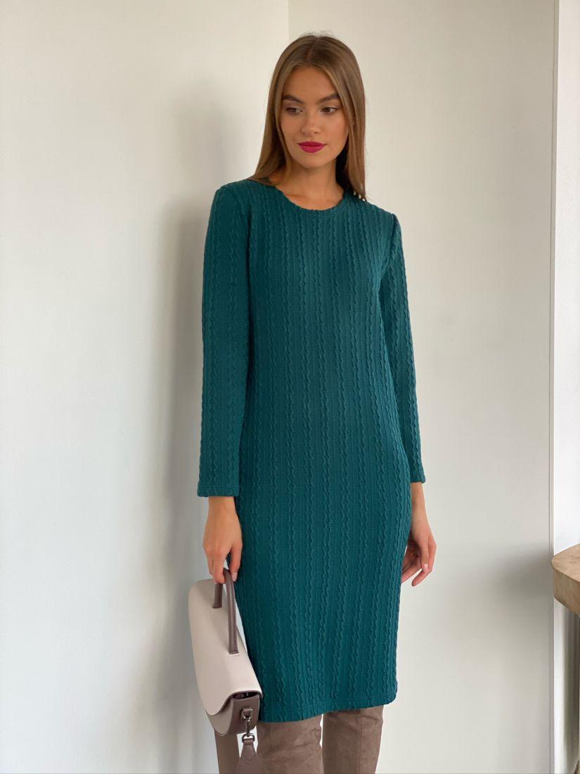 s2572 Базовое платье из мягкого трикотажа сине-зелёное