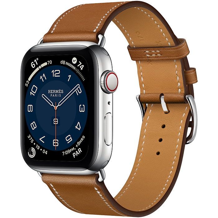 Apple Watch Hermes Series 6 44mm Stainless Steel GPS + Cellular Fauve Leather Single Tour