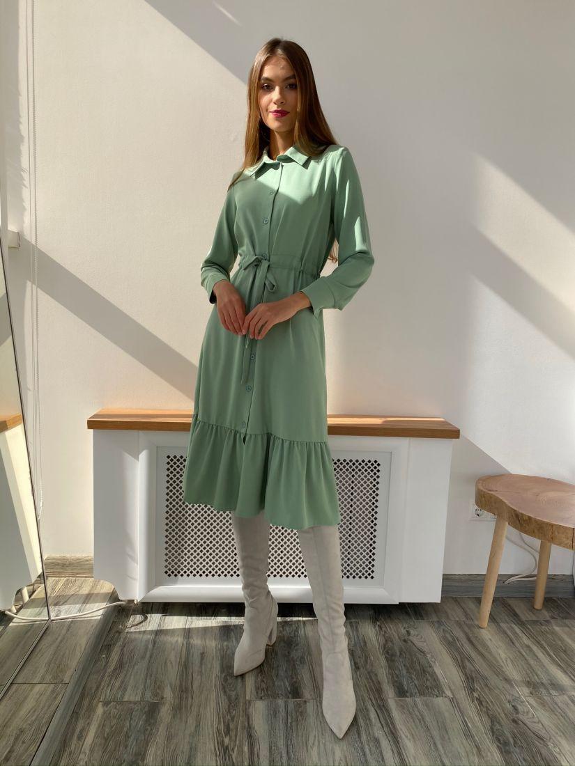 s2576 Платье-рубашка с кулиской фисташковое