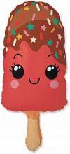 Шар (33''/84 см) Фигура, Счастливое эскимо, Красный, 1шт