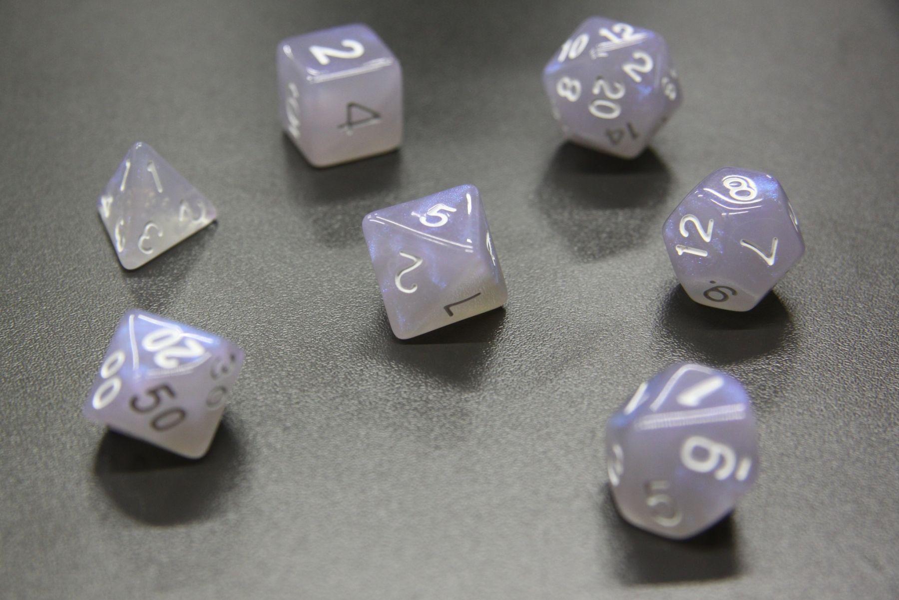 Набор кубиков D4-D100 - Аврора Туманная Синяя