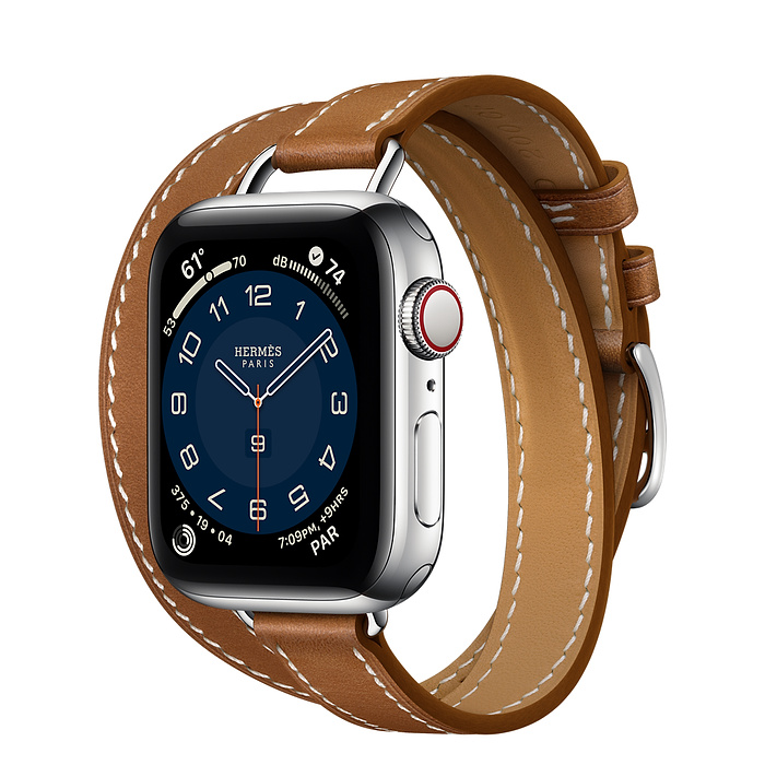 Apple Watch Hermes Series 6 40mm Stainless Steel GPS + Cellular Attelage Double Tour Fauve