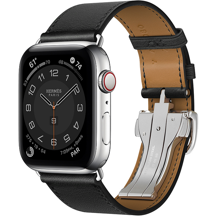 Apple Watch Hermes Series 6 44mm Stainless Steel GPS + Cellular Noir Single Tour Deployment Buckle