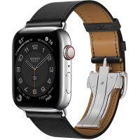 Apple Watch Hermes Series 6 44mm Stainless Steel GPS + Cellular Noir Single Tour Deployment Buckle