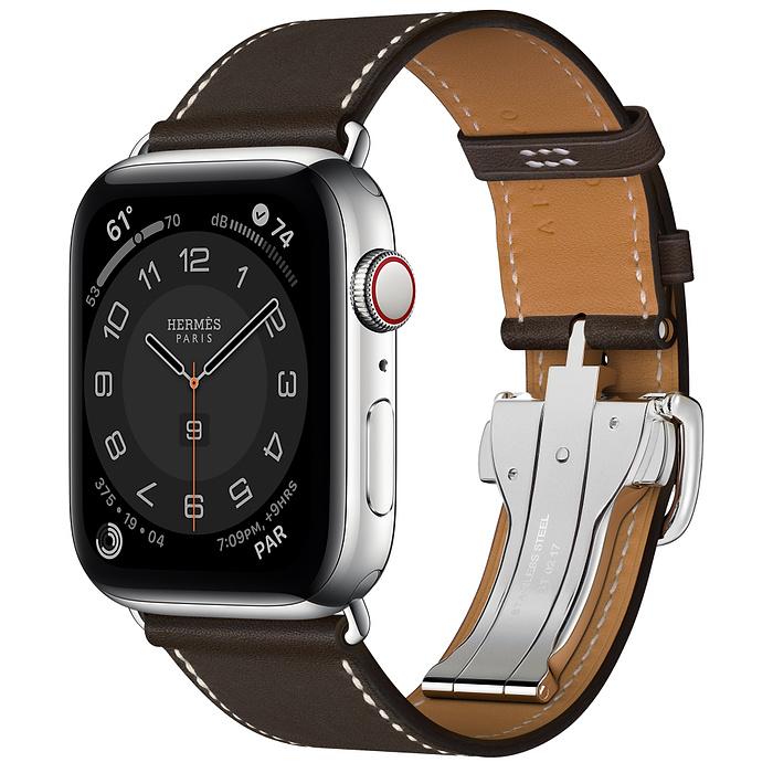 Apple Watch Hermes Series 6 44mm Stainless Steel GPS + Cellular Ébène Single Tour Deployment Buckle