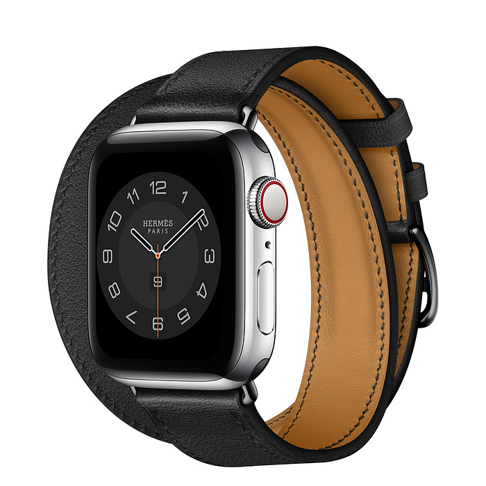 Apple Watch Hermes Series 6 40mm Stainless Steel GPS + Cellular Noir Leather with Double Tour
