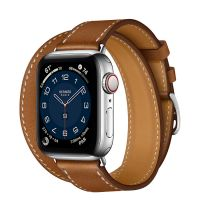 Apple Watch Hermes Series 6 40mm Stainless Steel GPS + Cellular Fauve Leather with Double Tour