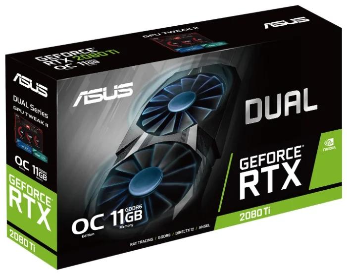 ASUS DUAL GeForce RTX 2080 Ti 1350MHz PCI-E 3.0 11264MB 14000MHz 352 bit 3xDisplayPort HDMI HDCP OC