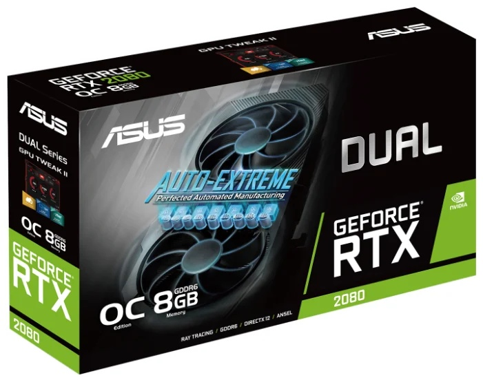 ASUS DUAL GeForce RTX 2080 1515MHz PCI-E 3.0 8192MB 14000MHz 256 bit 3xDisplayPort HDMI HDCP Advanced EVO