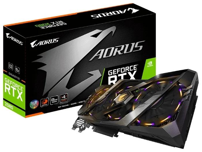 GIGABYTE GeForce RTX 2080 1845MHz PCI-E 3.0 8192MB 14000MHz 256 bit 3xHDMI 3xDisplayPort HDCP AORUS