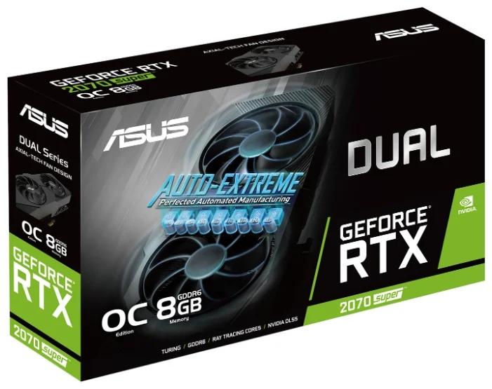 ASUS DUAL GeForce RTX 2070 SUPER 1605MHz PCI-E 3.0 8192MB 14000MHz 256 bit 3xDisplayPort HDMI HDCP EVO OC